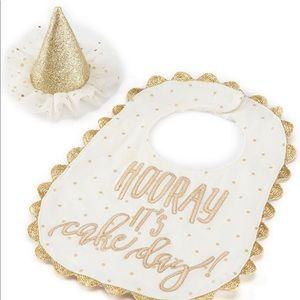 Mud Pie Hooray it's cake day birthday bib hat set